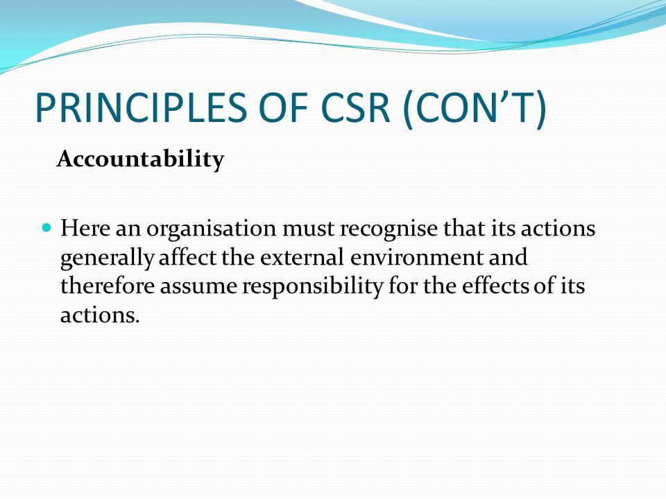 PRINCIPLES OF CSR (CON'T)