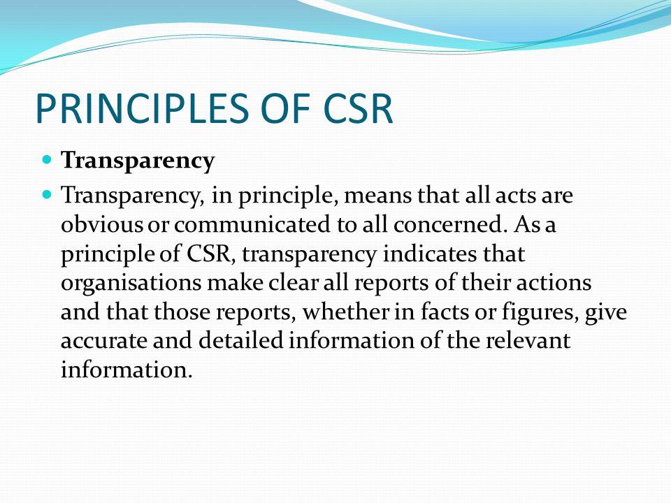 PRINCIPLES OF CSR Transparency