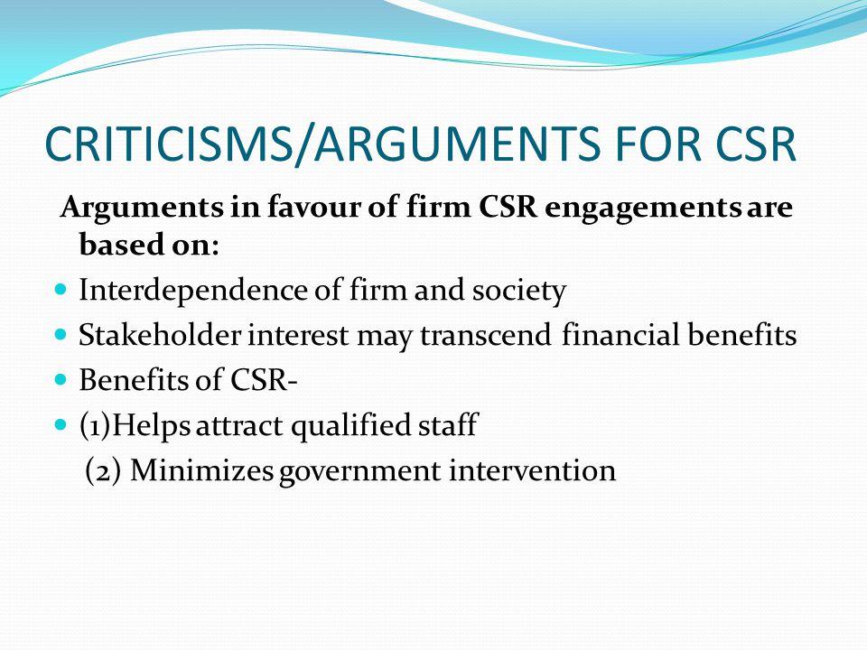 CRITICISMS/ARGUMENTS FOR CSR