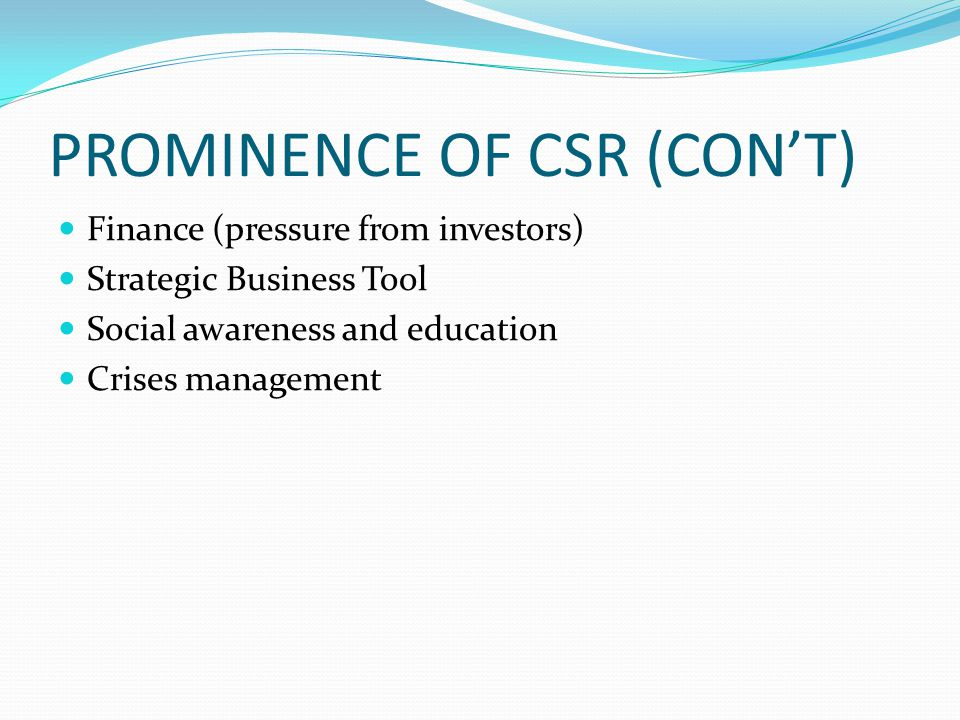 PROMINENCE OF CSR (CON'T)