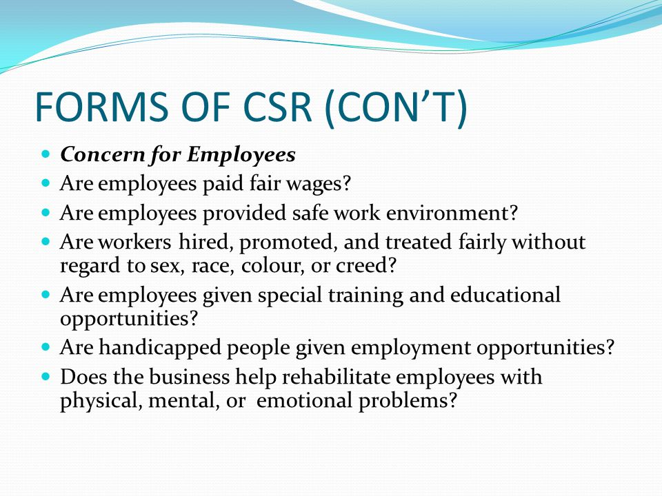FORMS OF CSR (CON'T) Concern for Employees