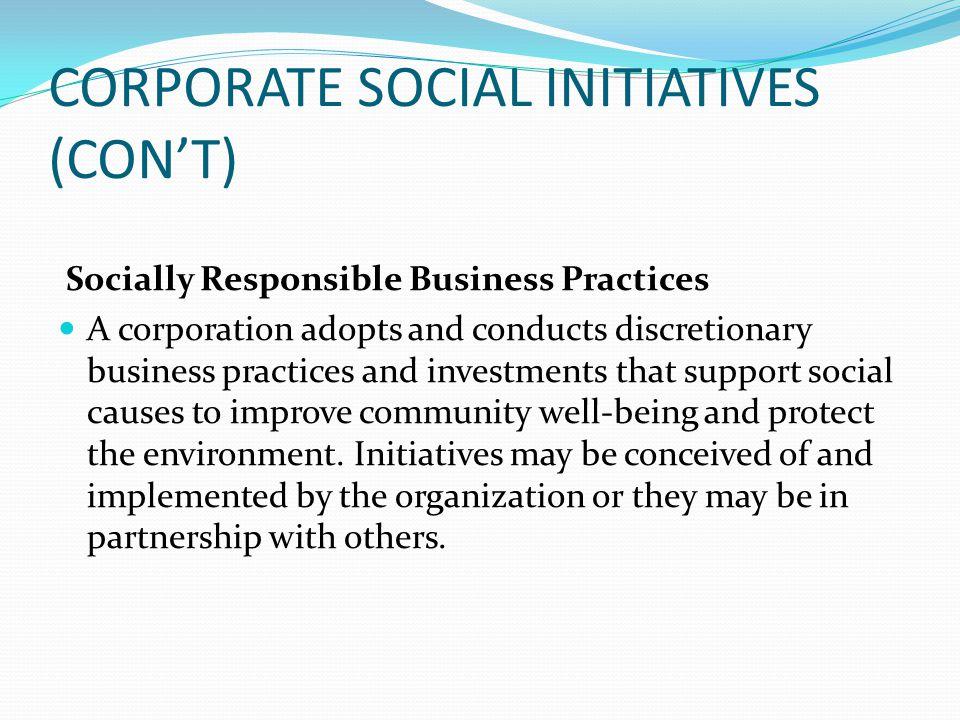 CORPORATE SOCIAL INITIATIVES (CON'T)