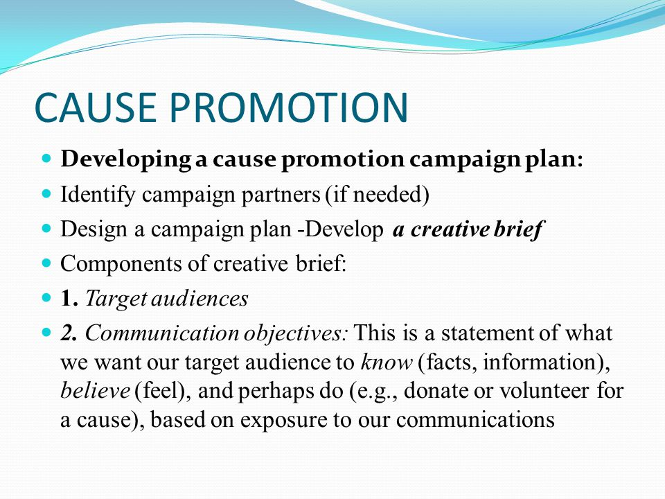 CAUSE PROMOTION Developing a cause promotion campaign plan: