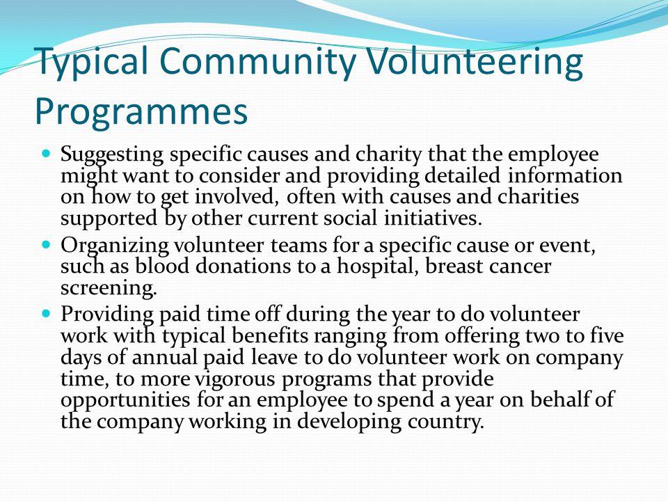 Typical Community Volunteering Programmes