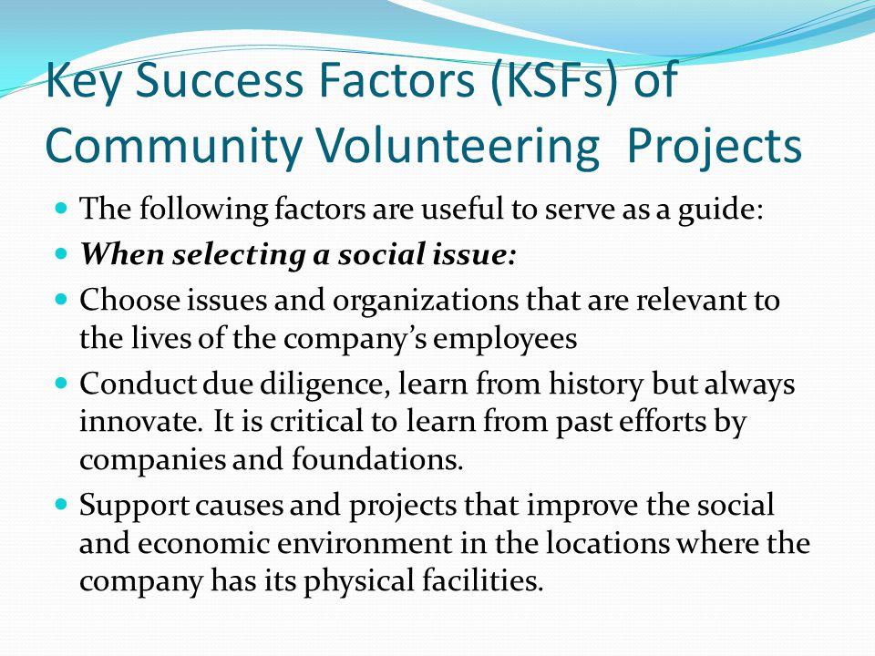 Key Success Factors (KSFs) of Community Volunteering Projects