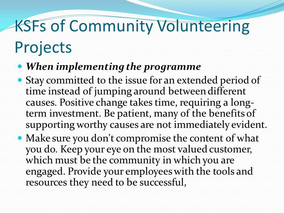 KSFs of Community Volunteering Projects