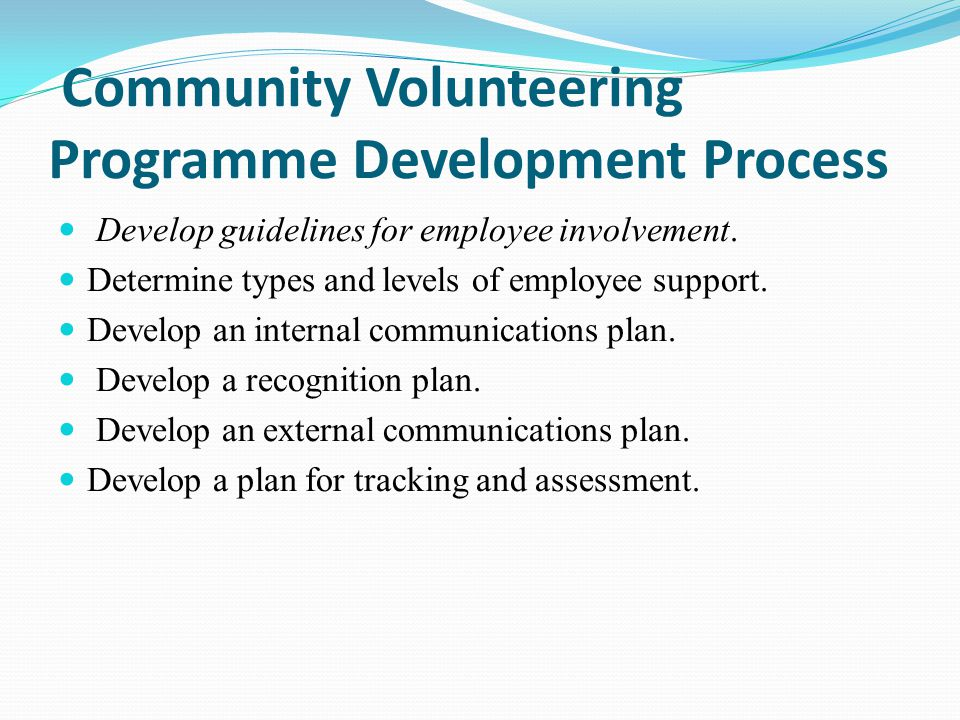 Community Volunteering Programme Development Process