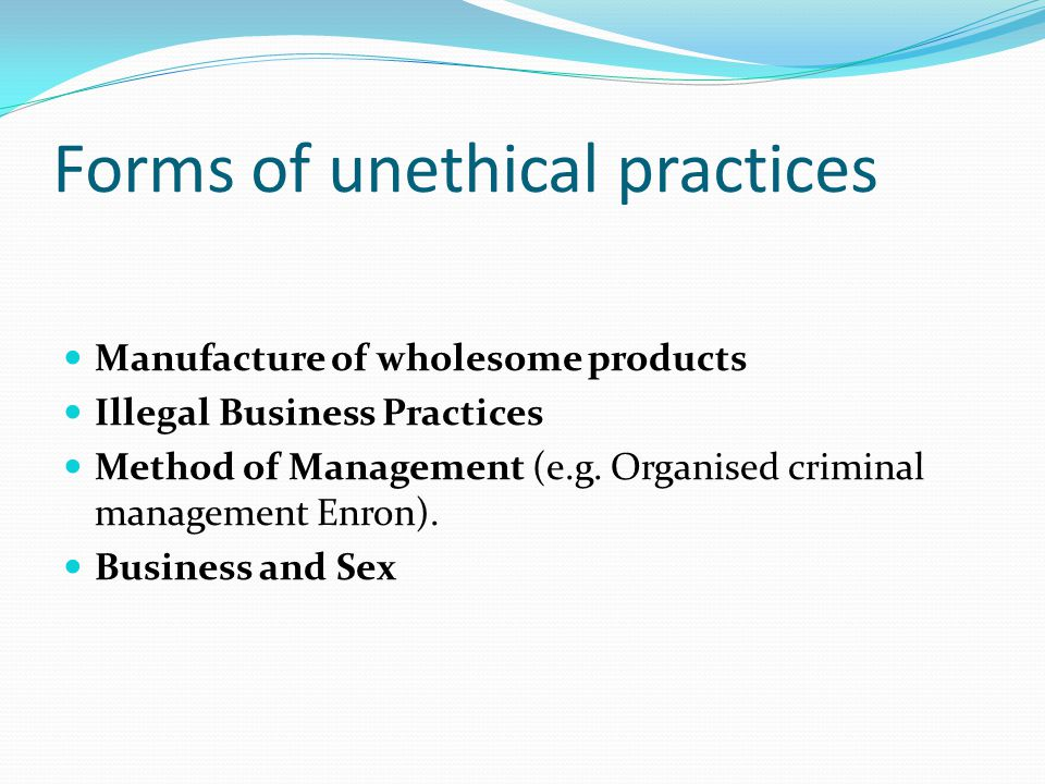 Forms of unethical practices