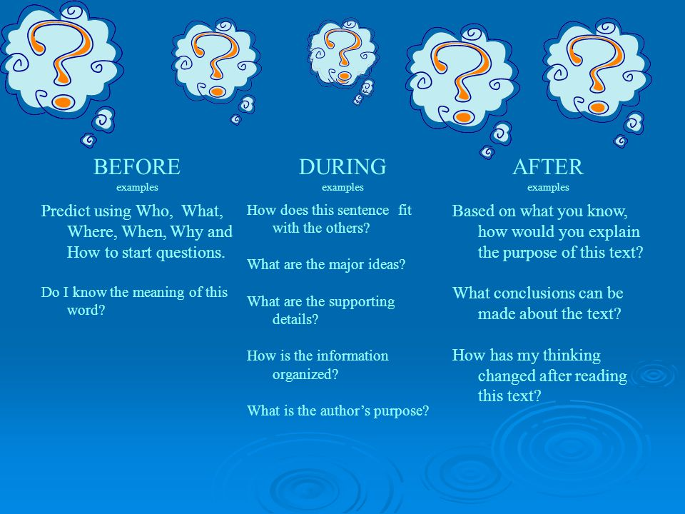 BEFORE examples. DURING. AFTER. Predict using Who, What, Where, When, Why and How to start questions.