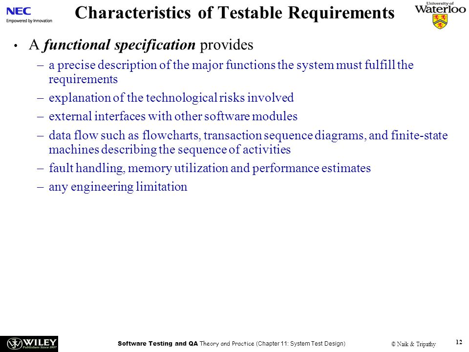 Characteristics of Testable Requirements