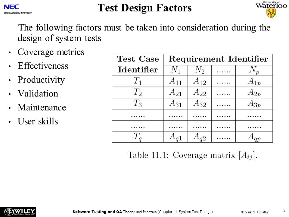 Test Design Factors Handouts. The following factors must be taken into consideration during the design of system tests.