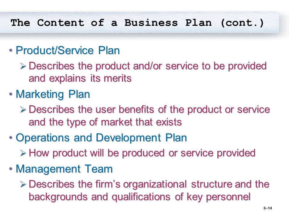 The Content of a Business Plan (cont.)