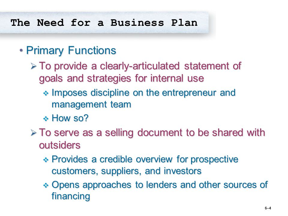 The Need for a Business Plan