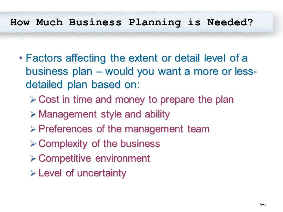 How Much Business Planning is Needed