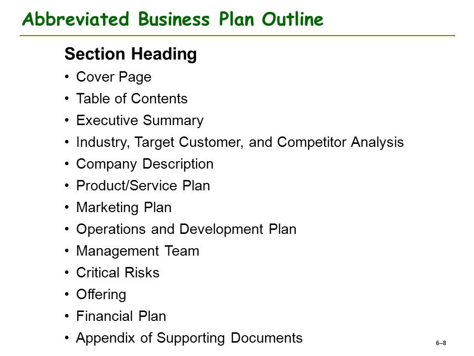 Abbreviated Business Plan Outline