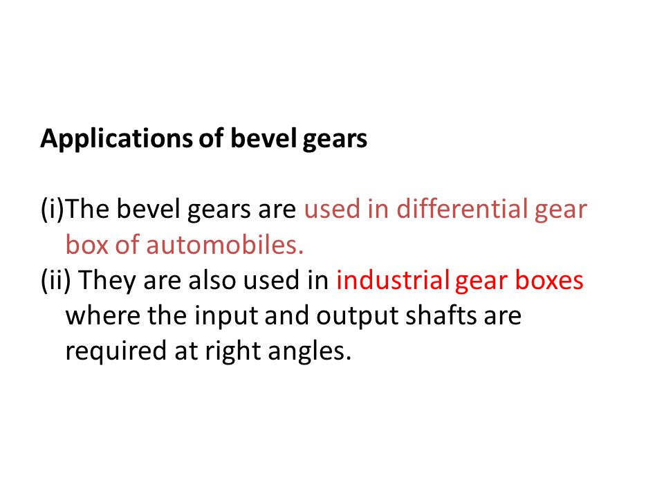 Applications of bevel gears