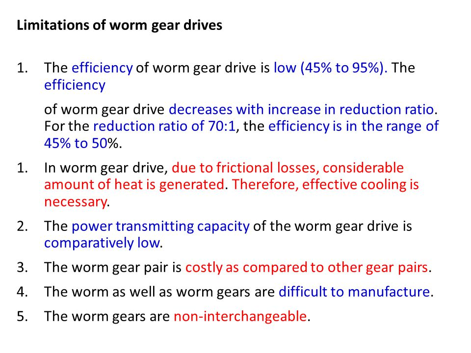 Limitations of worm gear drives