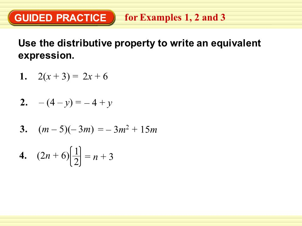 Write equivalent expressions using the Distributive Property of Multiplication over Addition
