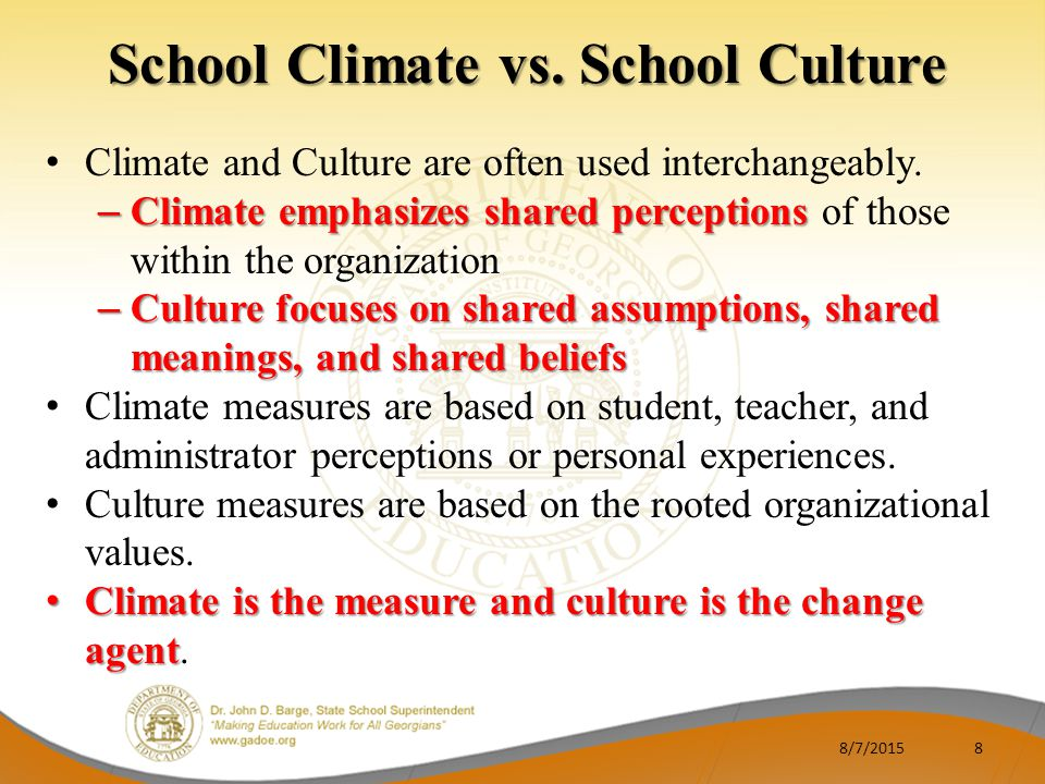 school climate essay There are two main causes of climate changes - natural causes and human activities natural causes have influenced the earth's climates such as volcanic.