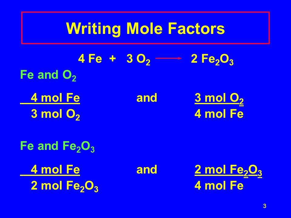 Writing Mole Factors 4 Fe + 3 O2 2 Fe2O3 Fe and O2