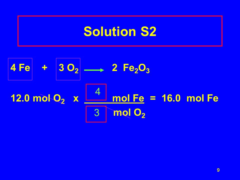 Solution S2 4 Fe + 3 O2 2 Fe2O3 12.0 mol O2 x mol Fe = 16.0 mol Fe