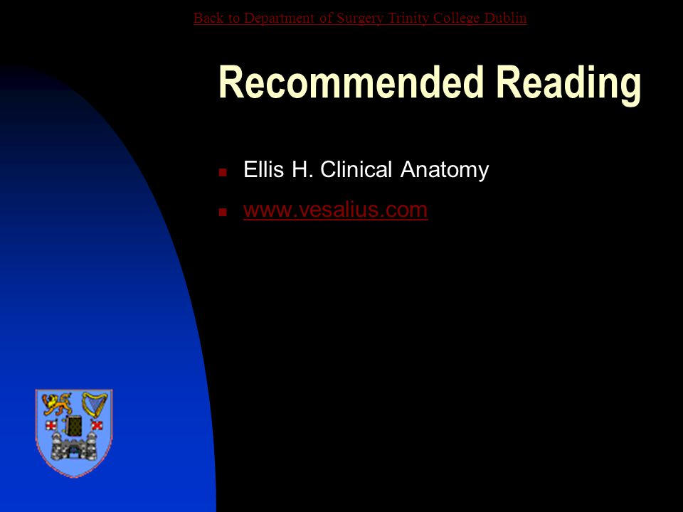 Recommended Reading Ellis H. Clinical Anatomy