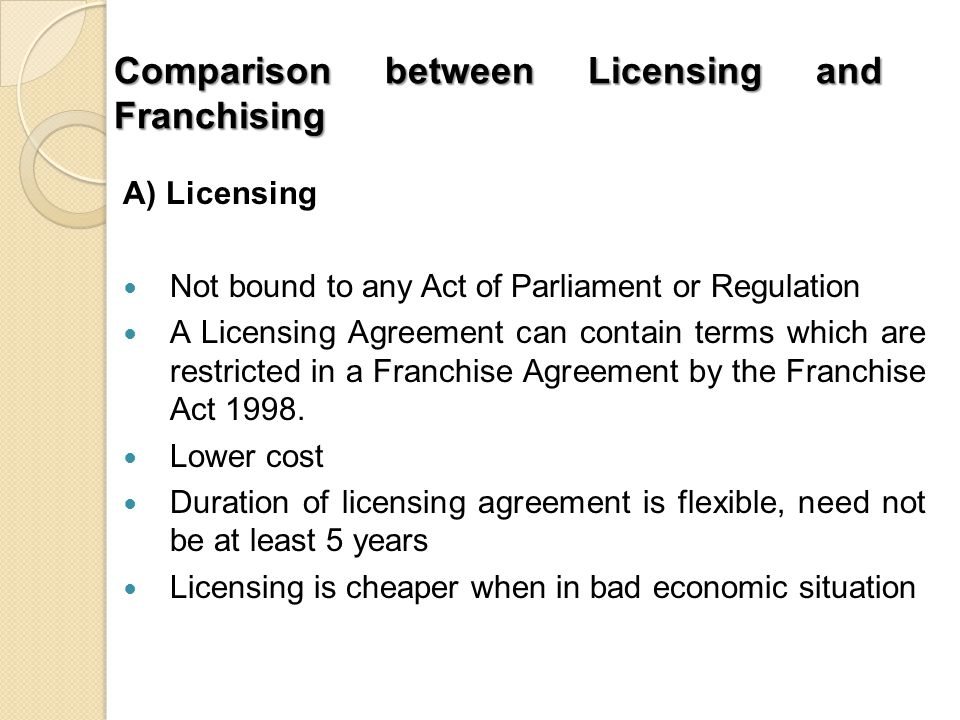 Licensing  Franchising In Malaysia  Ppt Download