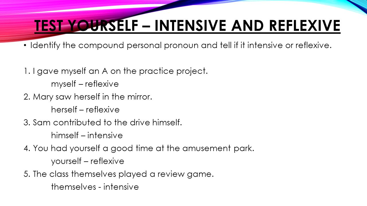 worksheet Reflexive And Intensive Pronouns Worksheet pronouns part one grade eight ppt video online download test yourself intensive and reflexive