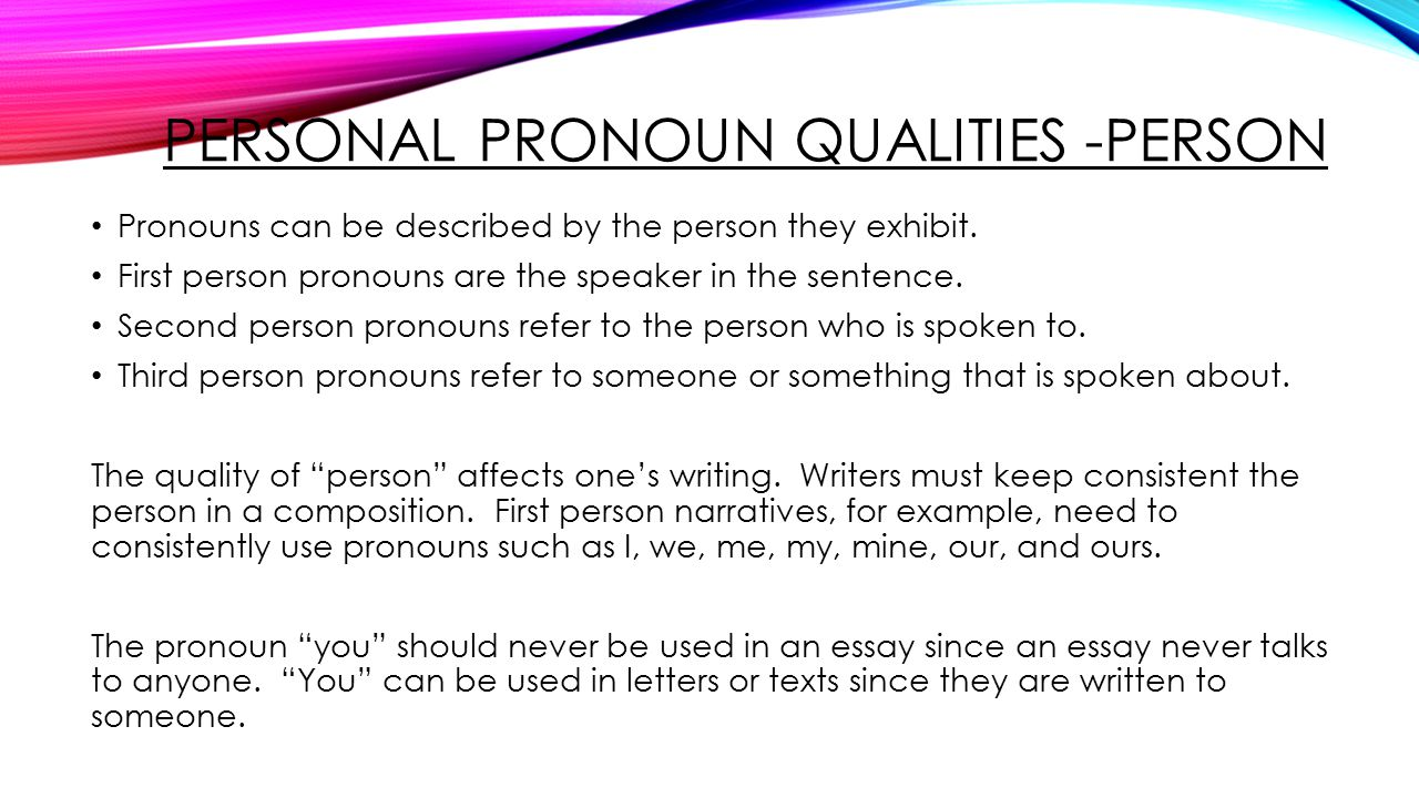 pronouns made way for on essays