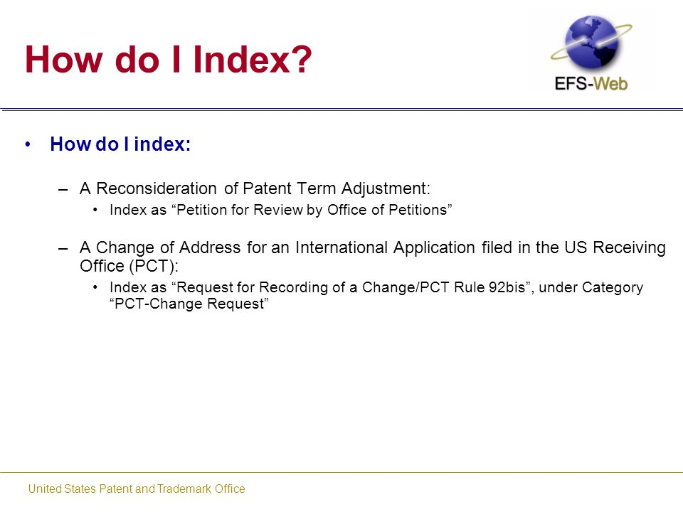 Welcome to efs web indexing training ppt download - United states patent and trademark office ...