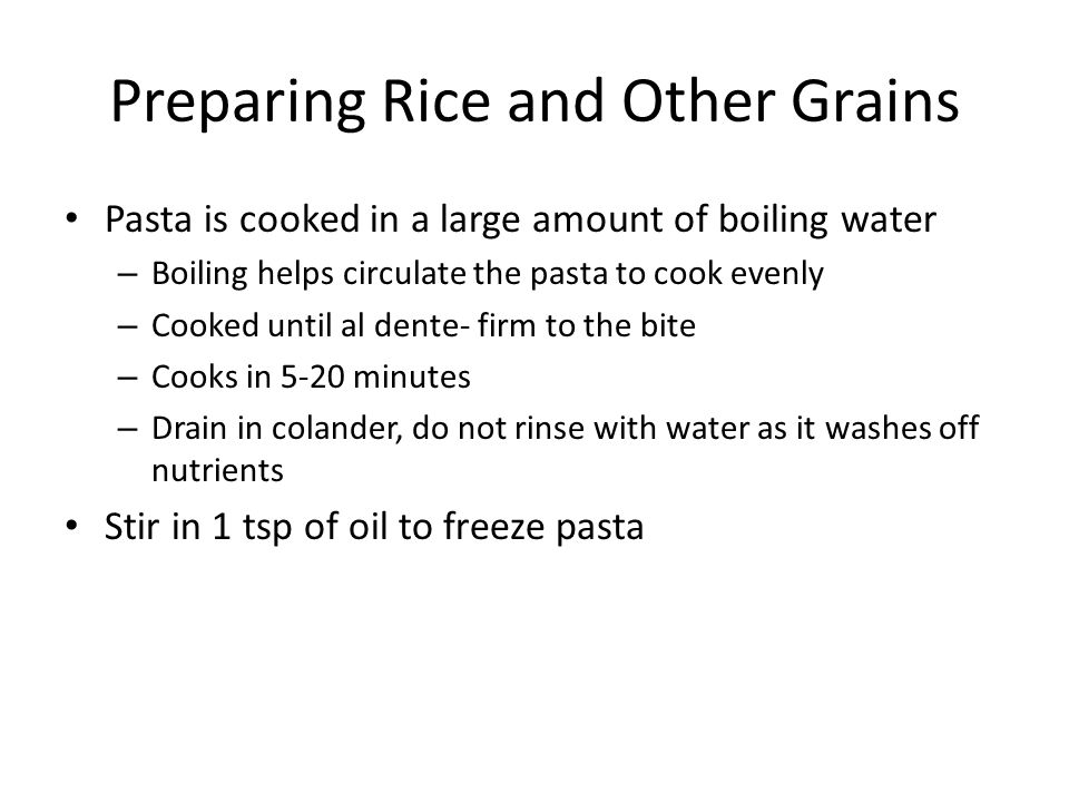 Preparing Rice and Other Grains