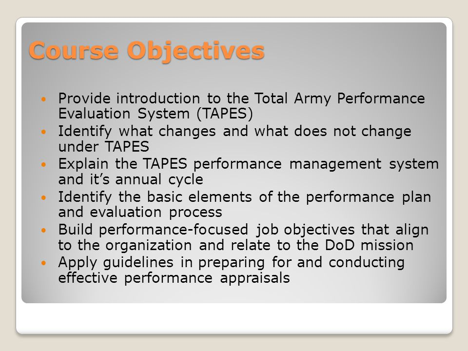 Total Army Performance Evaluation System Tapes  Ppt Video