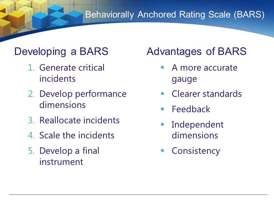 behaviorally anchored rating scales effective and Graphic rating scale the graphic rating scale, a behavioral method, is perhaps the most popular choice for performance evaluationsthis type of evaluation lists traits required for the job and asks the source to rate the individual on each attribute.