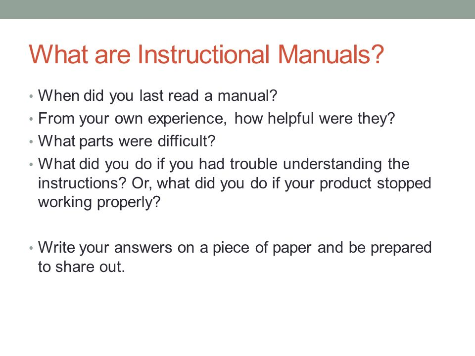 What Are Instructional Manuals
