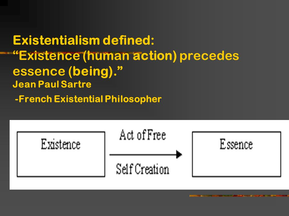 sartre existence comes before essence Credit to jean-paul sartre for the quote 'existence precedes essence'  after our existence has come into effect  essence does not mean that it existed before.