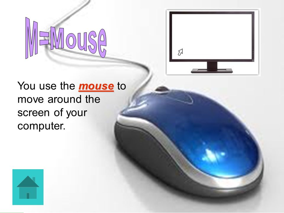 M=Mouse You use the mouse to move around the screen of your computer.