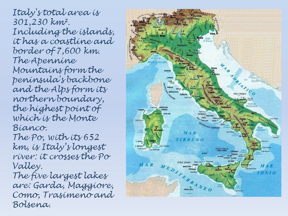 Italy s total area is 301,230 km²