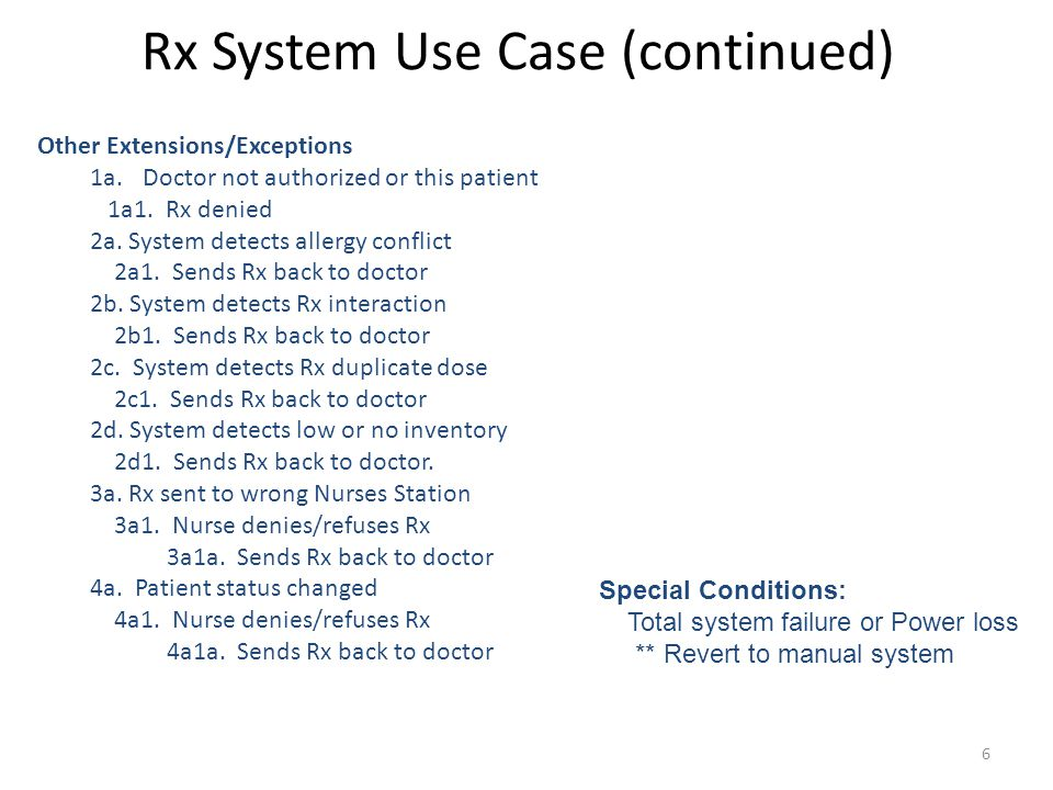 Rx System Use Case (continued)