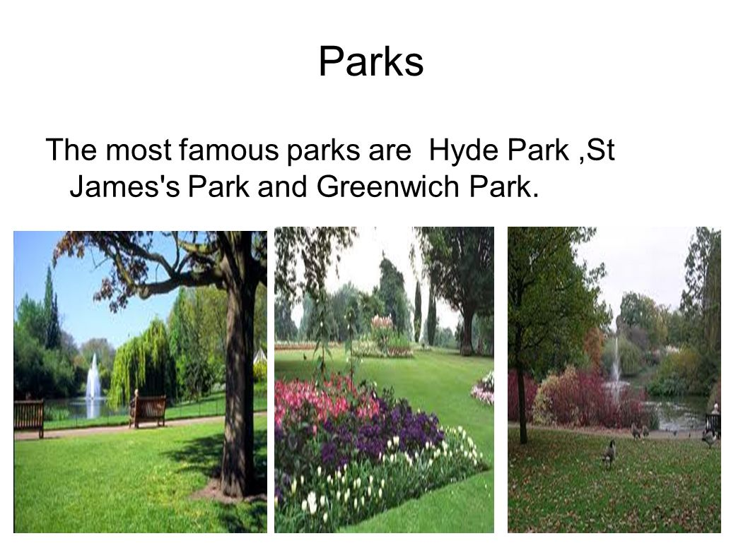 Parks The most famous parks are Hyde Park ,St James s Park and Greenwich Park.