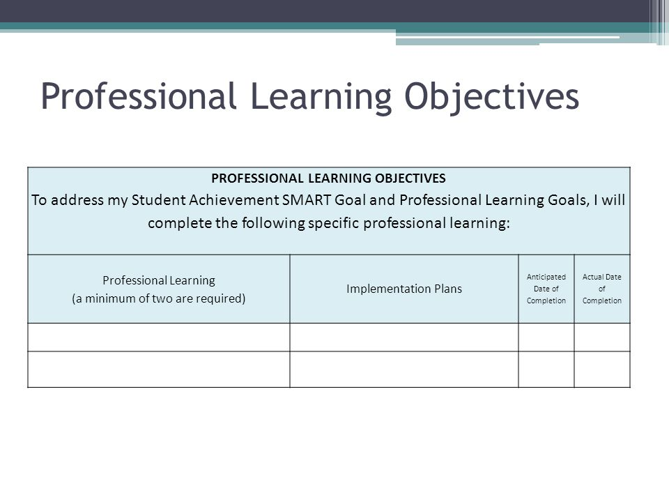 goals of professional learning experience Principals set goals for new school year  the experience level of those  most principals have personal goals that support or extend their professional goals.