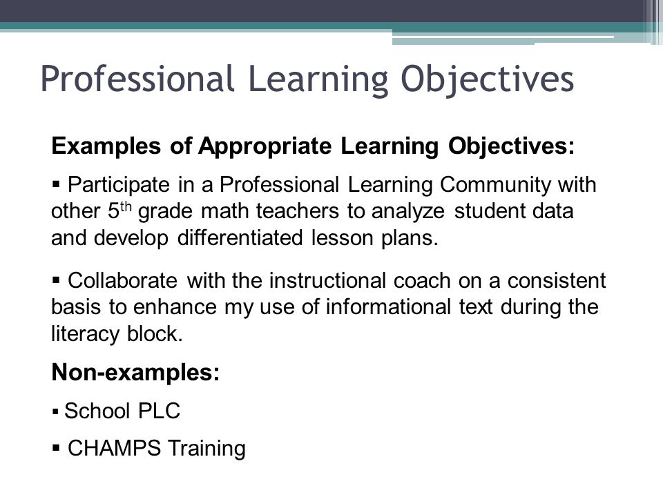 professional objectives for teachers