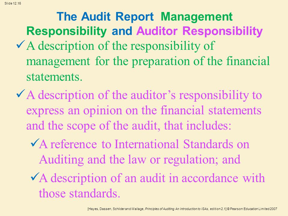 the audit report management responsibility and auditor responsibility