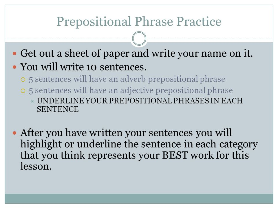 PARTS OF SENTENCES UNIT ppt video online download – Prepositional Phrase Worksheet with Answers