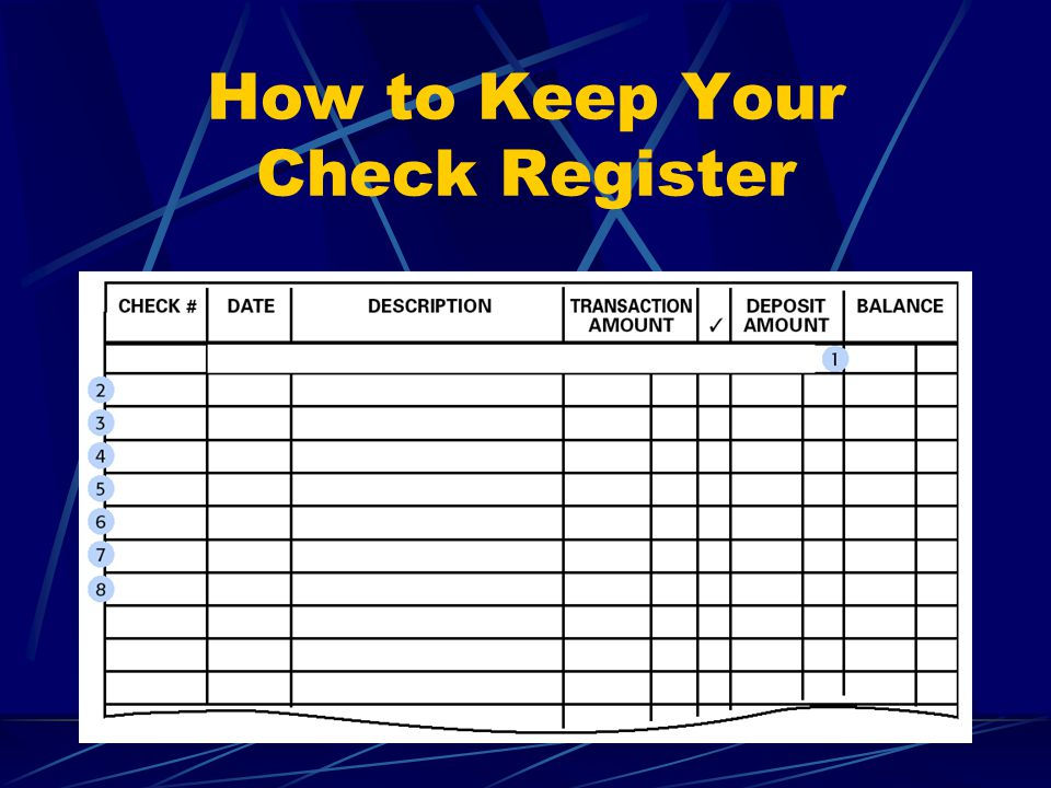 how to keep a check register