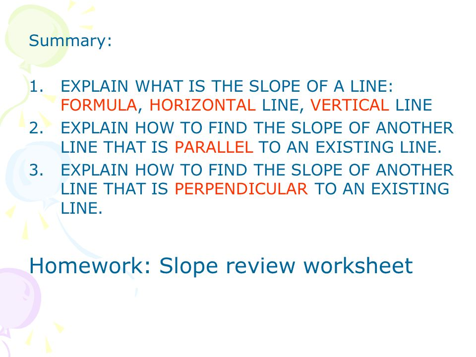 Warm Up for 96 Find the distance and midpointbetween the – Slope Formula Worksheet