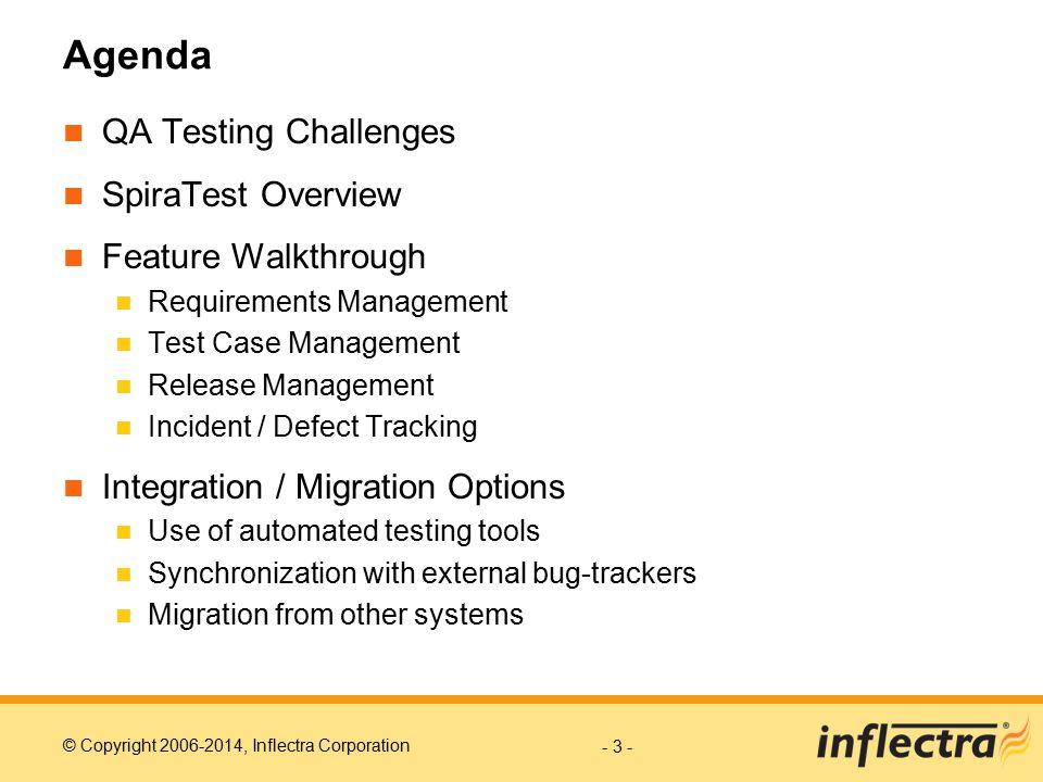 Agenda QA Testing Challenges SpiraTest Overview Feature Walkthrough
