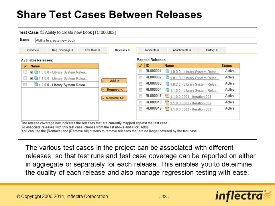 Share Test Cases Between Releases