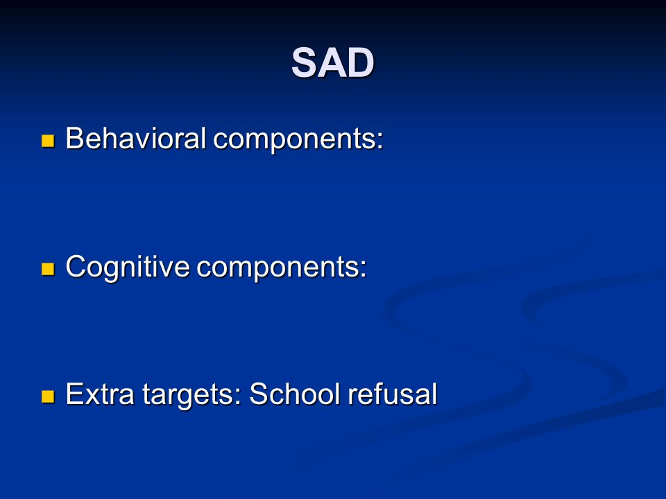 behavioral components In this emedtv segment, we explain that the other half of cognitive-behavioral therapy (cbt) involves changing your behavior we take an in-depth look at how this part of cbt can eventually.