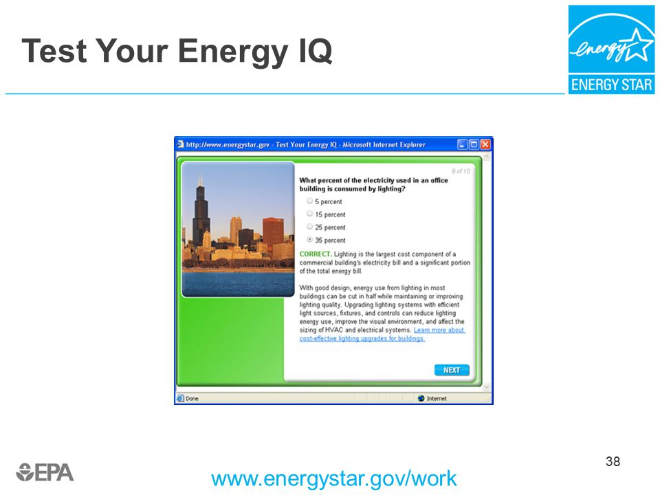 Test Your Energy IQ .energystar.gov/work 38  sc 1 st  SlidePlayer & Bring Your Green to Work with ENERGY STAR® - ppt download azcodes.com