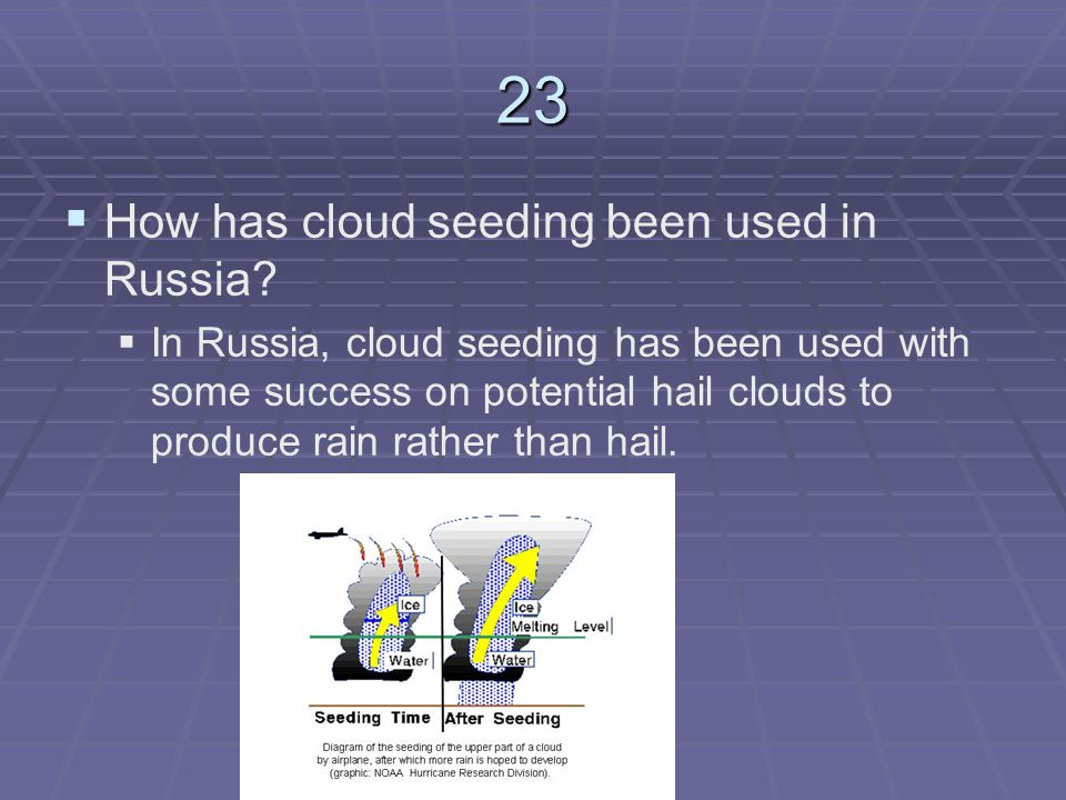 23 How has cloud seeding been used in Russia
